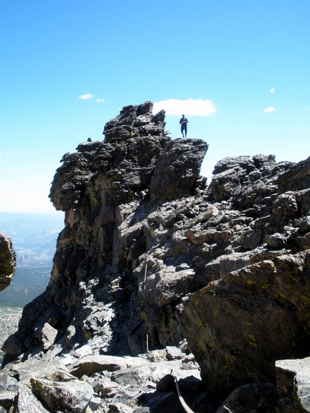 Douglas following....coming off the top of Flying Buttress.  Wild to hear people on the actual summit of Meeker.