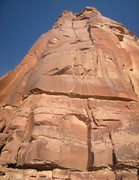 Rock Climbing Photo: Looking up at the Pennings/Medara route which they...