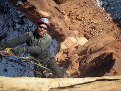 Rock Climbing Photo: A happy Sam nearing the summit.  Matt is visible a...
