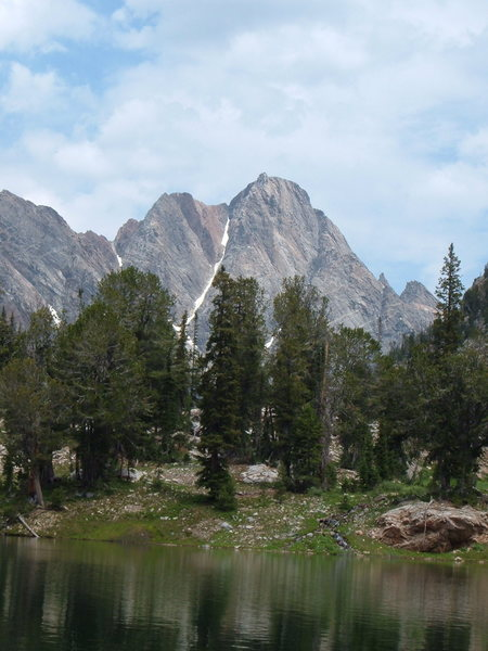 Mt. Moran from Grizzly Bear Lake, showing the back side of the dike and the southwest couloir.