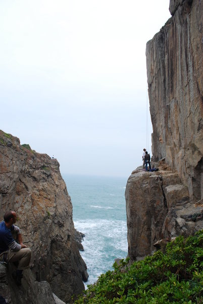 gorgeous arete climb over crashing waves