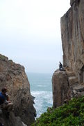 Rock Climbing Photo: gorgeous arete climb over crashing waves