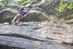 Rock Climbing Photo: Pulling through the overhang.