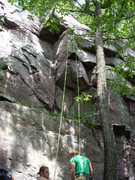 Rock Climbing Photo: Bloodshed goes in the dihedral to the roof and the...