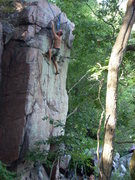 "Rock Climbing Photo: Mike Lohre finishing the ""MANcation""."