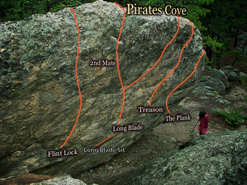 Rock Climbing Photo: Beta Photo for Pirates Cove.