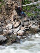 Rock Climbing Photo: Tyrolean Traverse Gigi at Cob Rock
