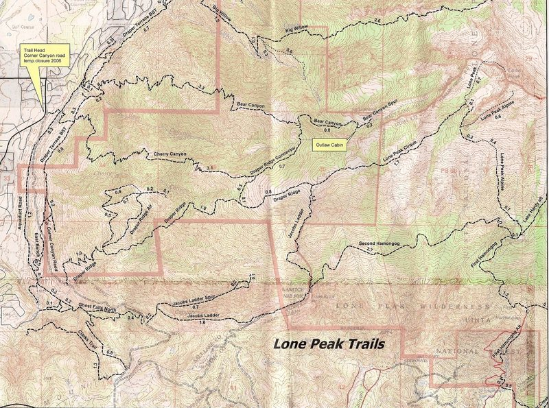 Rock Climbing Photo: Lone Peak Wilderness TOPO