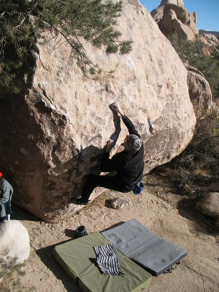 A cold January day in the sun on Stoney Point Problem (aka Bambam) (V3), Joshua Tree NP.