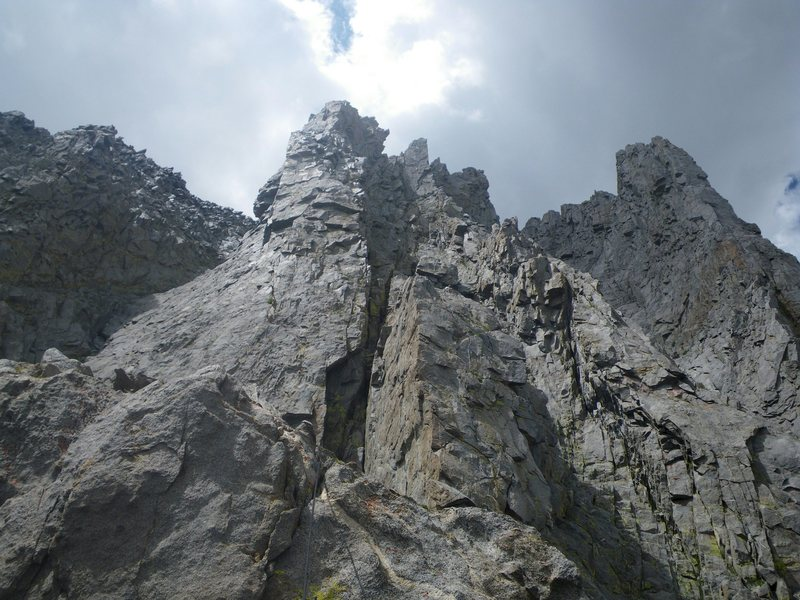 Pitch 6.  Look closely, you'll see me in there setting up a belay.  <br> <br> Beta: Opportunities abound to set your belay stations where they're protected from rockfall.  (photo: s.b.)