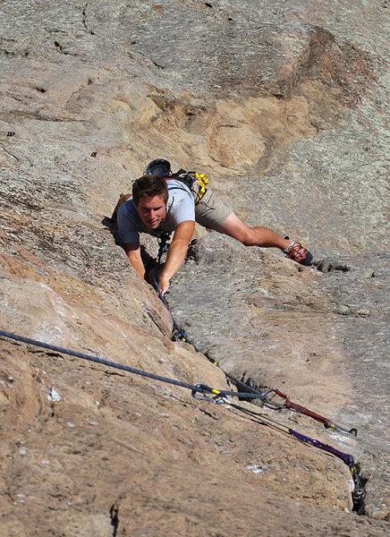 Rock Climbing Photo: Coby heading up the classic P-Crack. Photo Tom Sla...
