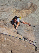 Rock Climbing Photo: Coby heading up the classic P-Crack. Photo Tom Sla...