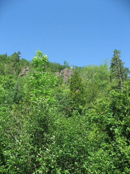 The J.C. Area --- Tobacco Road and J.C. Superstar. The right buttress. June 2009.