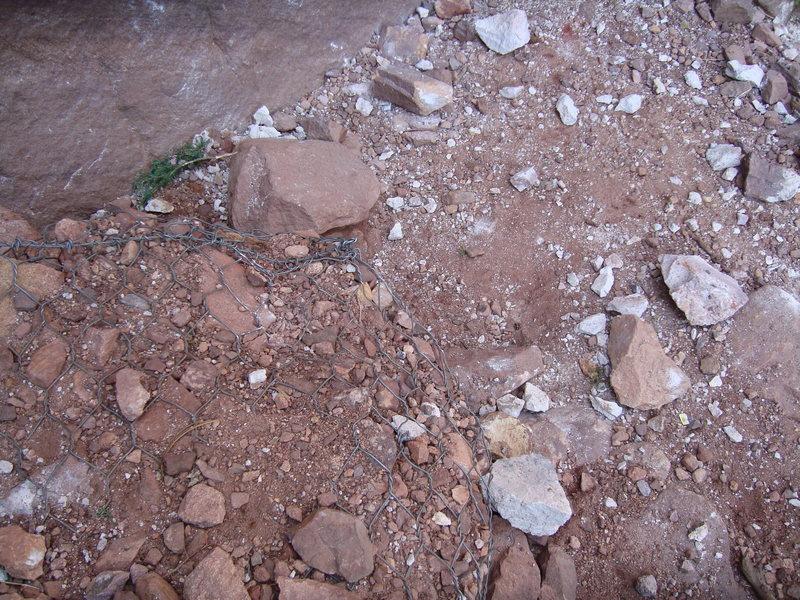 Rock Climbing Photo: More damage at the base.