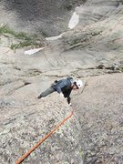 """Rock Climbing Photo: Rob is following the short """"5.10c"""" appro..."""