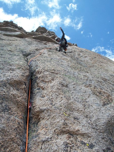 Rock Climbing Photo: Rob goofing on the money pitch...