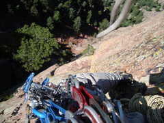 Rock Climbing Photo: Looking down P3.