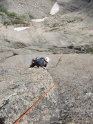Rock Climbing Photo: Rob is going for it on the approach pitch to the l...
