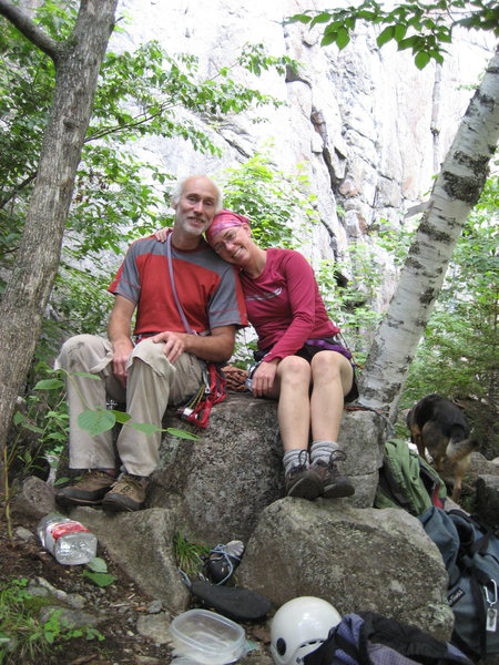 Rock Climbing Photo: Spider's Web cliff. Mark and Michelle.  Adirondack...