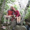 Spider's Web cliff. Mark and Michelle.  Adirondacks-2009