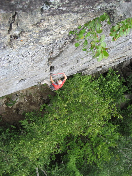 "Spider's Web cliff.  Mark Bealor following ""TR"" a very steep 5.10. Adirondacks-2009"
