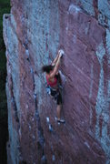 Rock Climbing Photo: Kayte Knower on the lead of Flake Route
