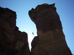 Rock Climbing Photo: the classic rappel...off of Monkey Face