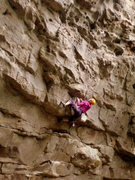 Rock Climbing Photo: Danielle, setting up for the crux on Fall Line.