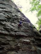 Rock Climbing Photo: John Johnson, on the upper portion of Fall Line.