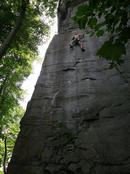 Jeremy Steck, heading into the crux on Pockets of Resistance.