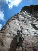 Rock Climbing Photo: Roy on TR, with gear suitable for traversing, and ...