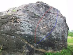 Rock Climbing Photo: Each line shows general area (within  one foot) of...