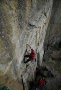 Rock Climbing Photo: Bill Coe climbing Blackberry jam, photo Jeff Thoma...