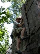 Rock Climbing Photo: Nic Thune, trying the left crack.