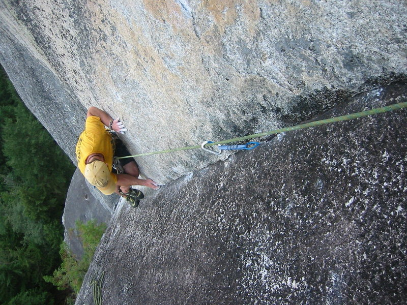 Rock Climbing Photo: Brad in the final section of P3 of The Great Game,...