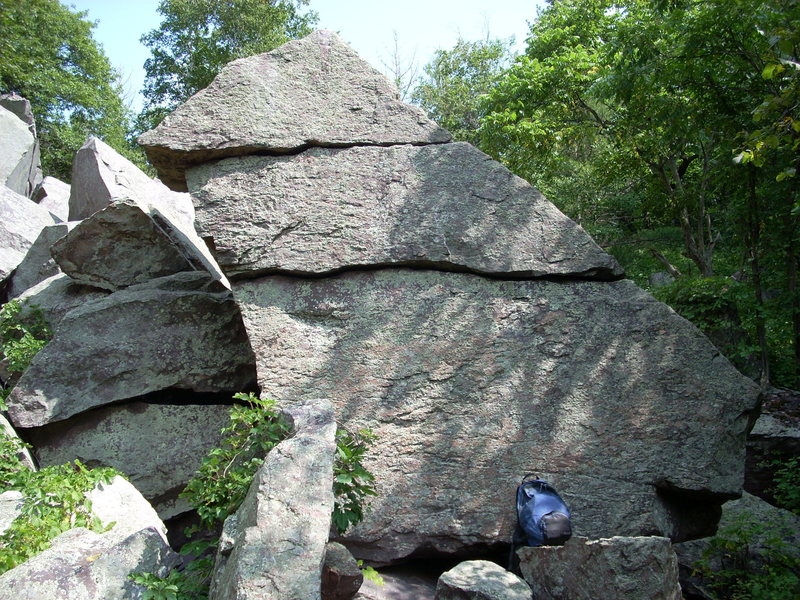 Cool, south facing boulder in the talus to the east of September Wall.
