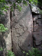 "Rock Climbing Photo: The inside corner is 5.5, the face is ""Queen ..."