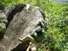 Rock Climbing Photo: At the top-out.  This problem is a blast!
