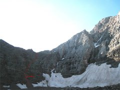 Rock Climbing Photo: The route up the couloirs to the NE Ridge.
