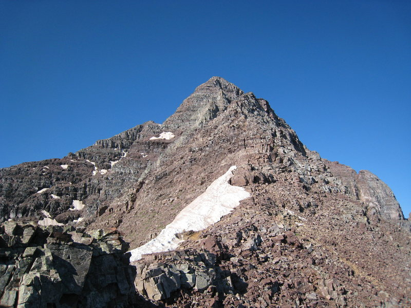 View of the summit from  near the top of the couloir.