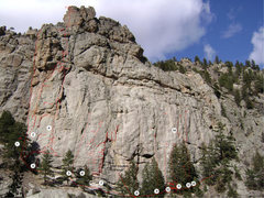 Rock Climbing Photo: Mary's Bust SE Face route locator (my ratings) 1. ...