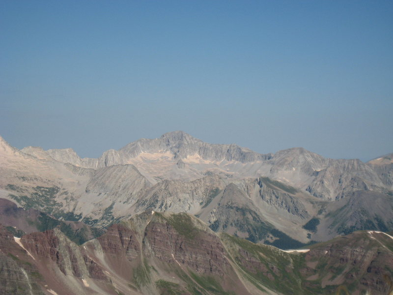 The SE side of Capital Peak, form the summit of Pyramid Peak.