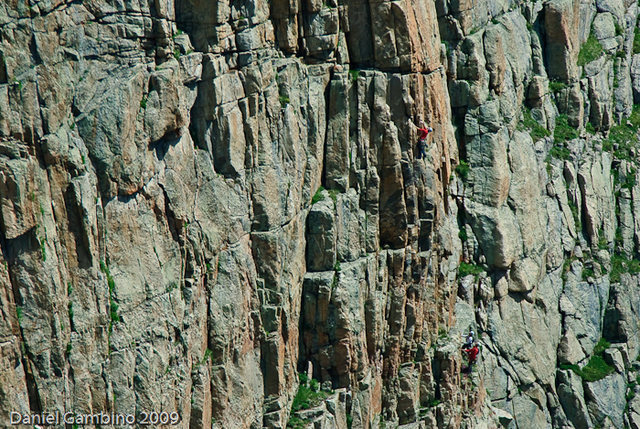 Seth on Pitch 2. The pitch ends on the nice ledge up and left of him.<br> Photo: Dan Gambino.