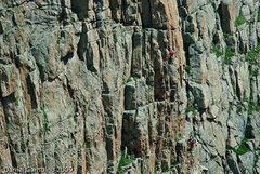 Rock Climbing Photo: Seth on Pitch 2. The pitch ends on the nice ledge ...