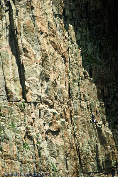 Pitch 4. The crux of Goat Food is the shaded corner on the left side of the picture.<br> Photo: Dan Gambino.