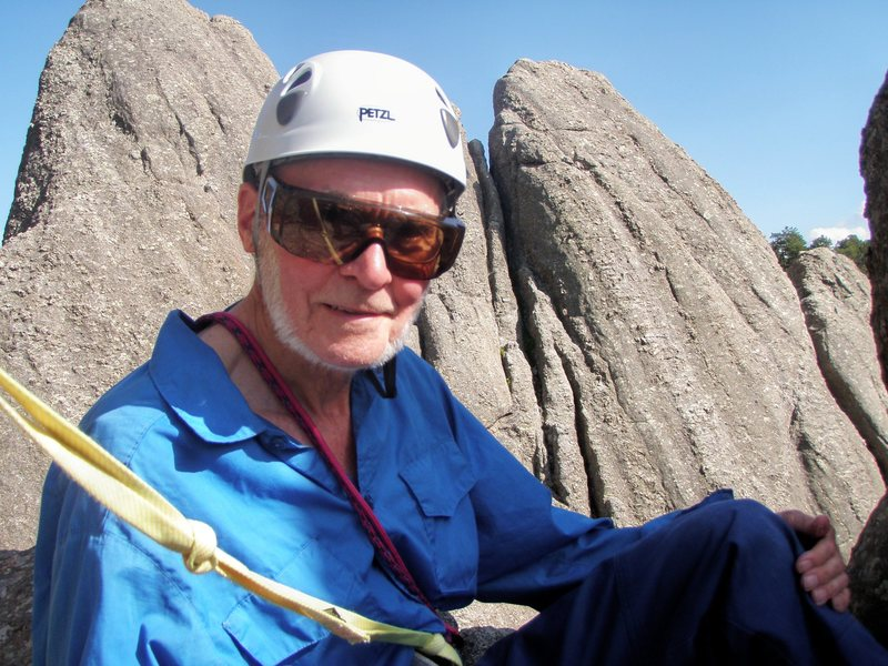 Rock Climbing Photo: Dave Meyer on/in the big window on top of Rhinocer...