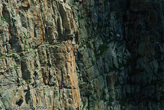 Rock Climbing Photo: Doug on the chimney on the 3rd pitch. From here, c...