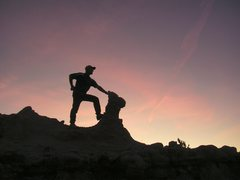 Rock Climbing Photo: Badlands sunset scramble