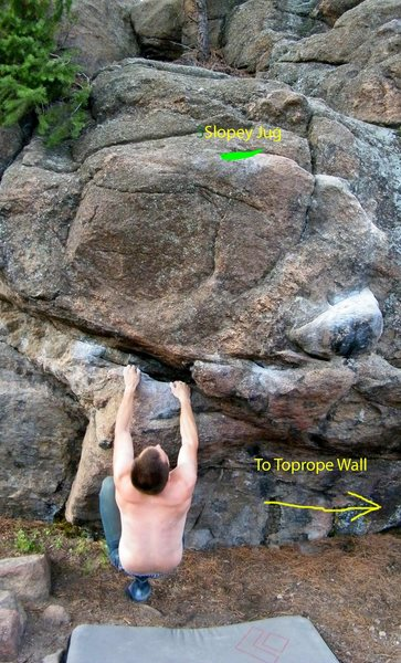 Rock Climbing Photo: Start on the hold my hands are on, dyno to the hol...