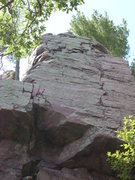 Rock Climbing Photo: TM goes straight up the main crack to the ledge. A...